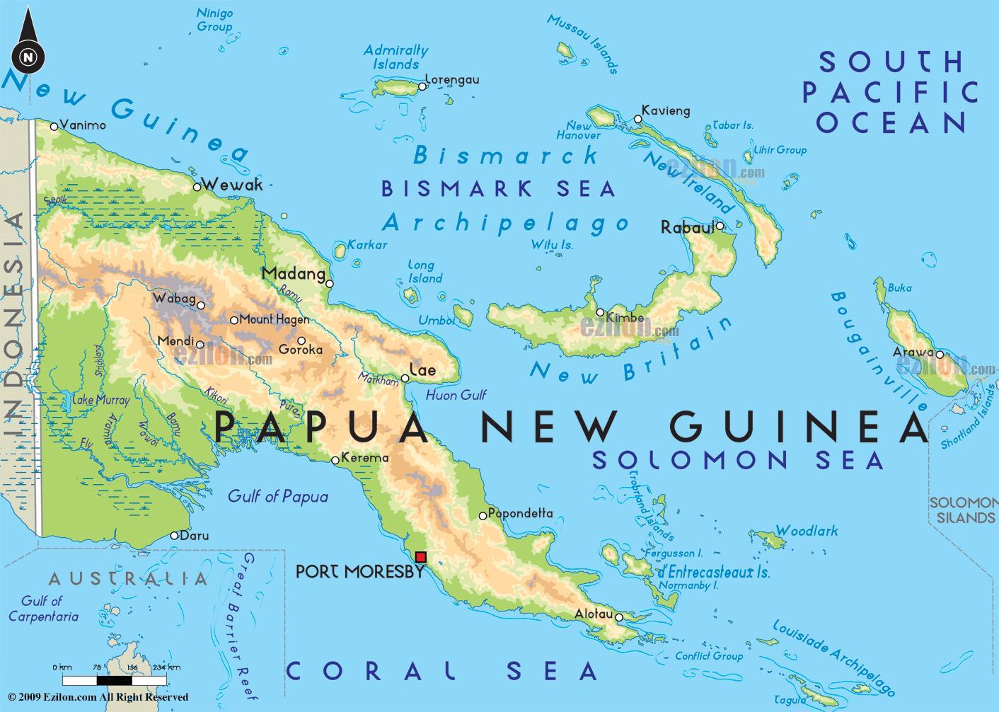 papua neuguinea karte Hauptstadt von papua neu guinea Karte   Karte der Hauptstadt von